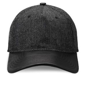Gents Herringbone and Leather Cap